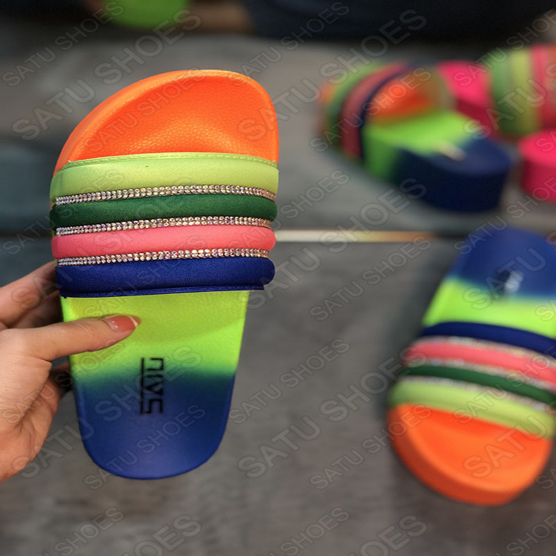 Summer Multicolor Thick Bottom Slippers Women EVA Shoes Rhinestone Slides Ladies Beach Sandals Candy Color Female Slipper