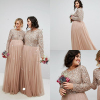 Rose Gold Sequins Long Bridesmaid Dresses 2020 Plus Size Jewel Neck Long Sleeve Country Maid of Honor Junior Gown Maternity