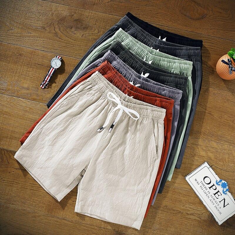 Plus Size 9XL 8XL 7XL 6XL 5XL  Shorts Casual Gym Shorts Mens Solid Color Knee Length Pants Thin Breathable Beach Shorts Loose