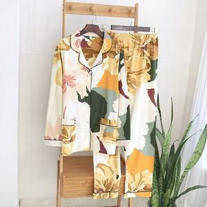 Image 5 - אביב חדש נשים 100% כותנה פיג מה עלה דקל הדפסת תורו למטה צווארון ארוך שרוול מכנסיים 2 חליפת חתיכה בגדי בית