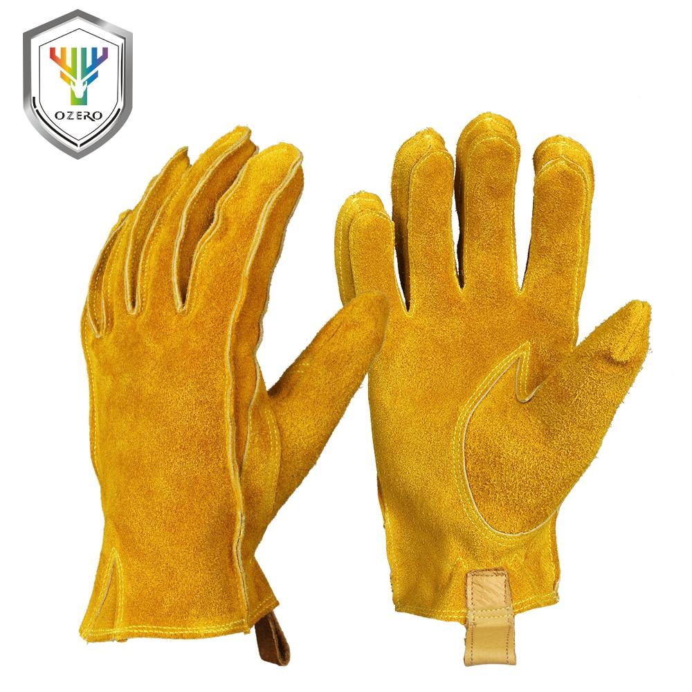OZERO P gants de Moto pour hommes | Gants en cuir véritable, en cuir de vachette, mécaniques, pour la course de motard, équitation, gants de Moto pour Moto A2010