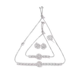 Image 4 - Jewelry Set HADIYANA Women Party Wedding Zircon Flower Design Necklace Earrings Bracelet And Ring Set CN1026 Conjunto de joyas