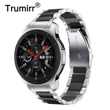 Sans écart bracelet de montre en acier inoxydable + adaptateurs solides pour Samsung Galaxy Watch 46mm / Gear S3 Band bracelet à dégagement rapide argent noir