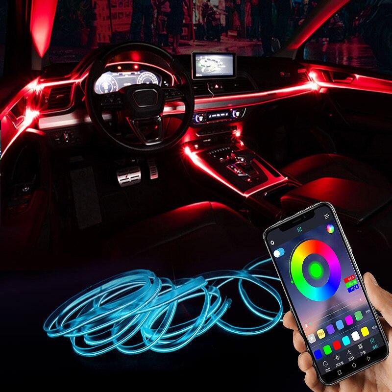 Светодиодный Автомобиль окружающего светильник Подсветка светильник Музыка RGB несколько режимов Управление приложение Авто декоративная ...