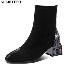 ALLBITEFO crystal heel soft sheepskin genuine leather slip on women boots fashion ankle boots fashion new spring Autumn boots