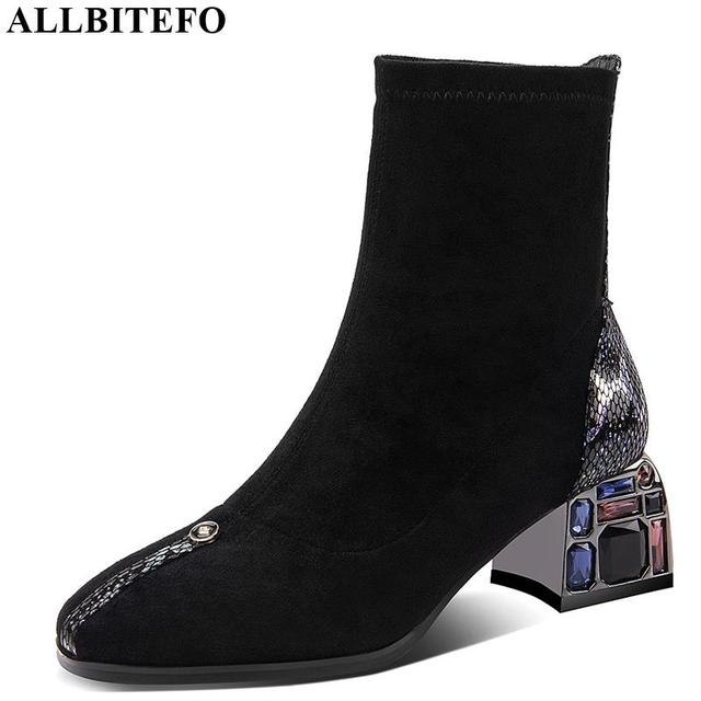 ALLBITEFO الكريستال كعب لينة جلد الغنم جلد طبيعي الانزلاق على النساء الأحذية موضة حذاء من الجلد موضة جديدة ربيع الخريف الأحذية