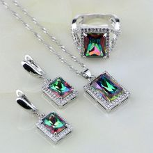 Natural Square Mystic Rainbow Fire White Zircon 925 Silver Jewelry Sets for Women Wedding Necklace/Earrings/Pendant/Ring