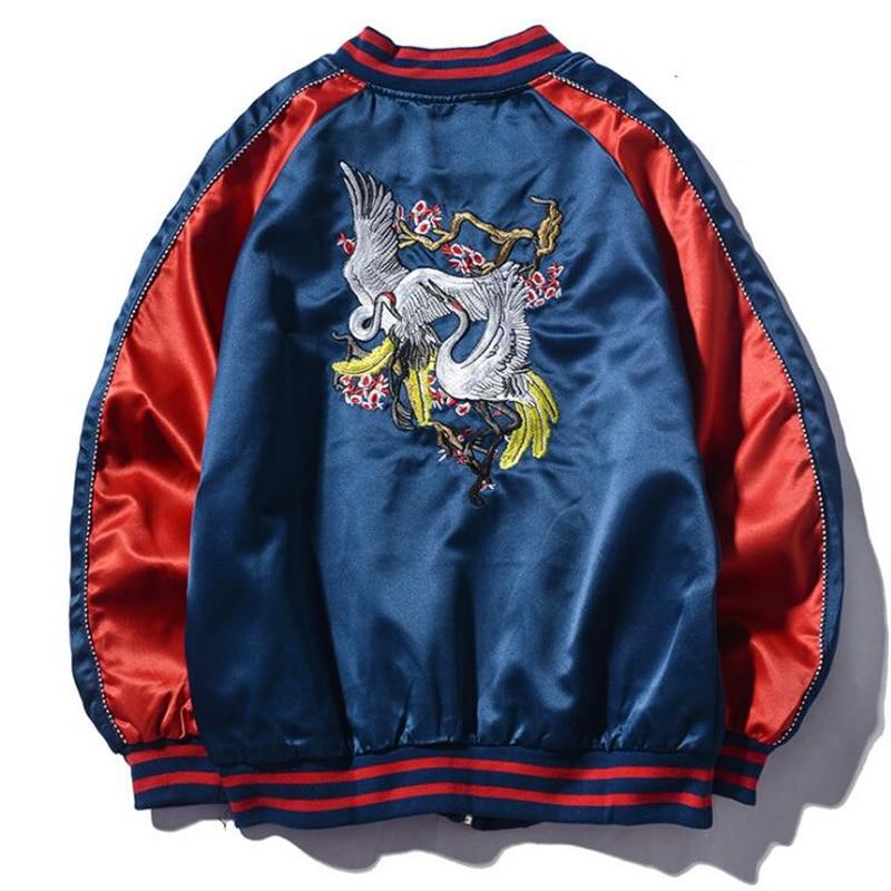 Autumn Spring Chinese Style Men's Embroidered Jacket Coat Slim Casual Fashion Youth Baseball Uniform Thin Pilot Bomber Jackets