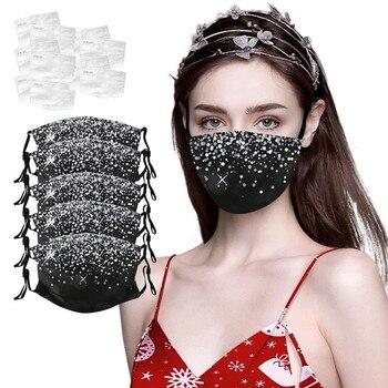 1/3/5 Fashion Women Men Shiny diamond Reusable Breathable Safe Protection Mask Reuse Cotton Face Mouth Mask mascarillas de tela