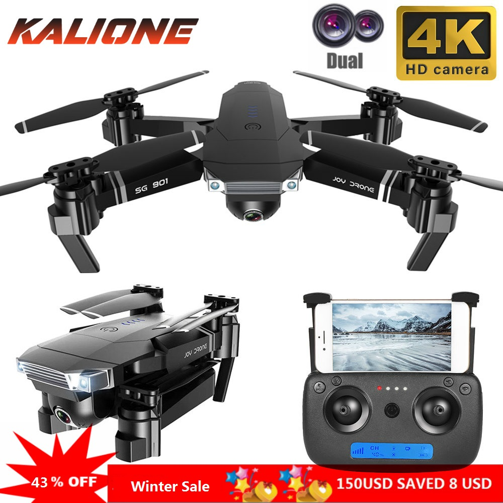 2019New SG901 Quadrocopter Camera Drone 4K 1080P HD Dual Camera 50X Zoom Gesture photo Follow Me FPV Professional Toy For Kid