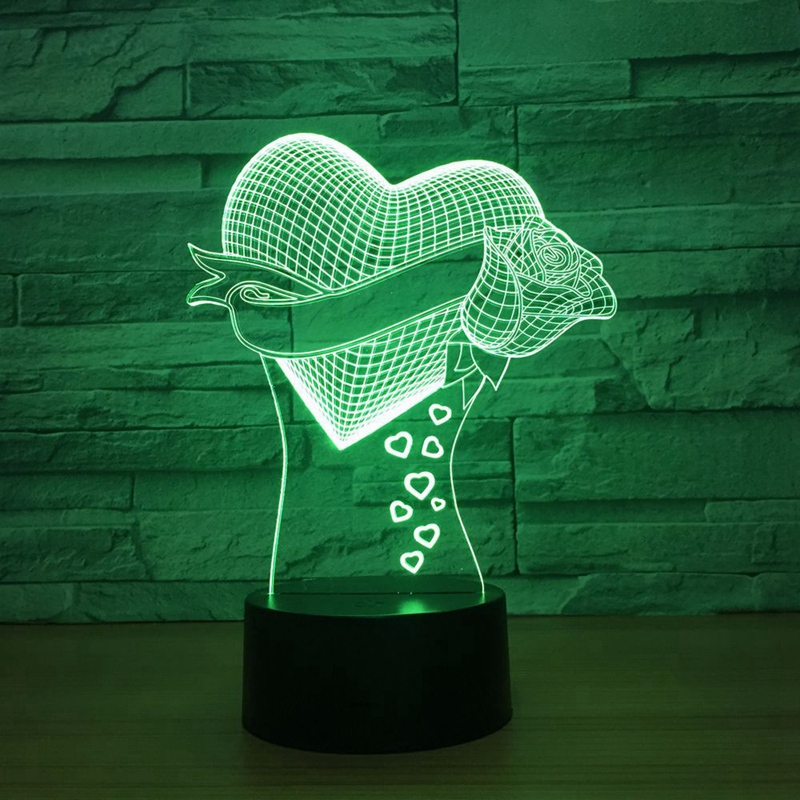 Romantic Love Rose Flower 3D Led Night Light 7 Color Change Table Lamp Home Decor Bedside LED Lamp