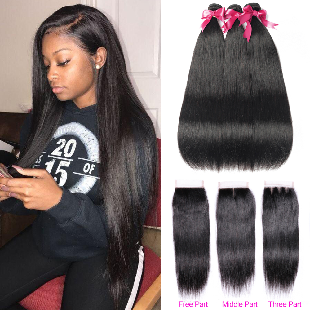 Straight Human Hair Bundles With Closure Peruvian Hair Bundles 3 With Closure 4x4 Lace Closure For Women Ms Love Hair Extension