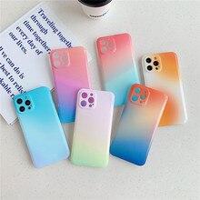 Luxe Rainbow Gradiënt Telefoon Gevallen Voor Iphone 12 11 Pro Xs Max X Xr 11 12 7 8 Plus Camera bescherming Soft Silicone Cover