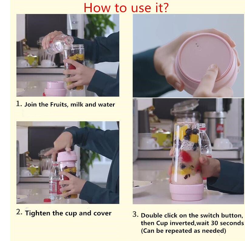 H4616b51447844a8ab703ec8b5b601fc6n Xiaomi 17PIN Star Fruit Cup mini Portable blender Juicer mixer food processor 400ML Magnetic charging 30 Seconds Of Quick Juice
