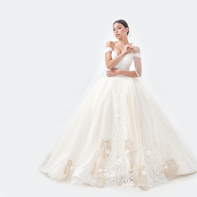 2020 כבוי כתף שרוול כדור שמלת יוקרה גליטר מיוחד זהב תחרה שנהב חתונת שמלת תפור לפי מידה כלה שמלה
