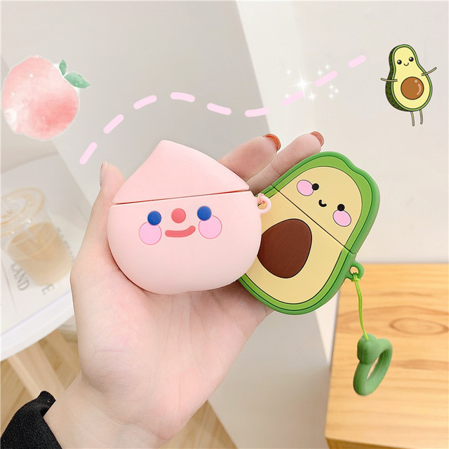 For AirPods 2 Cover Cute Avocado Peach Cartoon with key ring animal silicon Earphone Case For Air Pods 1/2 Headphone case funda
