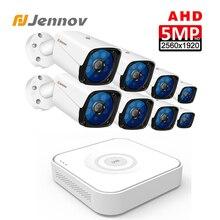 Jennov HD 5MP H.264 + مراقبة الفيديو 8 كاميرات الأمن مجموعة كاميرا ل CCTV الأمن في الهواء الطلق نظام الكاميرا كاميرا AHD DVR P2P