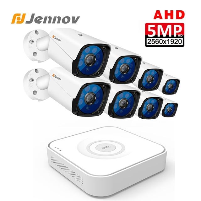 Jennov HD 5MP H.264+ Video Surveillance 8 Cameras Security Camera Set For CCTV Outdoor Security Camera System AHD Camera DVR P2P