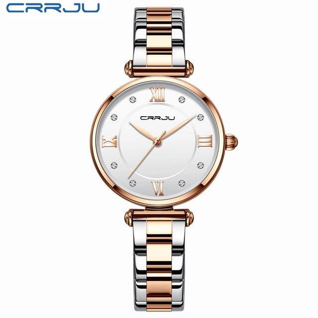 CRRJU Women Watches Famous Luxury Brand Stainless Steel Elegant Women Quartz Watches Fashion Reloj Mujer Ladies Dress Watch 2