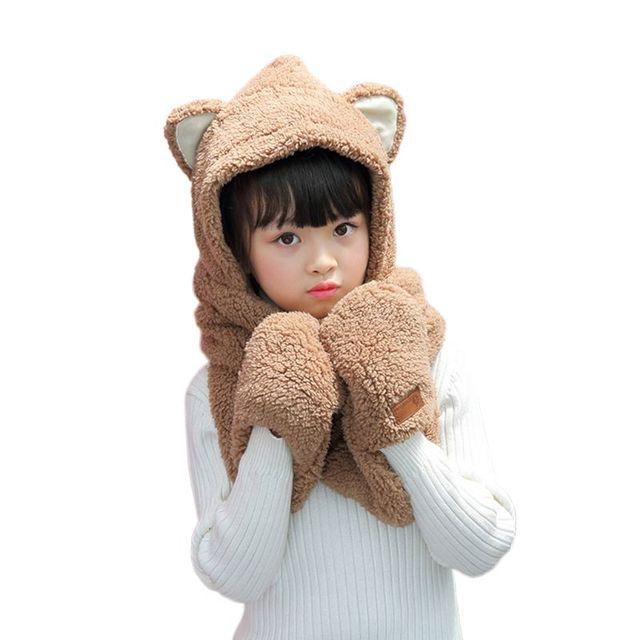 Toddler Kids 3 In 1 Warm Winter Hat Cute Animal Ears Scarf Gloves Earflap Cap