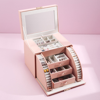 Casegrace 2020 New Design Large Jewelry Box With Mirror Jewelry Display Casket Earrings Ring Boxes