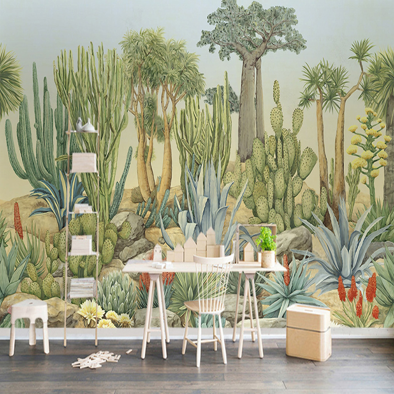 Custom Mural Wallpaper 3D Stereo Cactus Tree Green Leaf Wall Painting Living Room Bedroom Hotel Background Wall Papers 3D Fresco