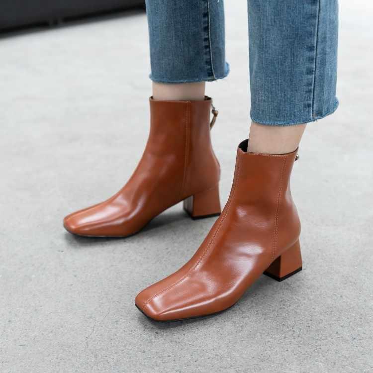Tanariya nova chegada sapatos mulher botas femininas outono/inverno 2020 botas de couro feminino com saltos grossos