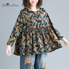 BelineRosa 2019 Retro Style Womens Blouse Shirt Long Sleeve Loose Casual Plus Size Women Clothing BSDM0295
