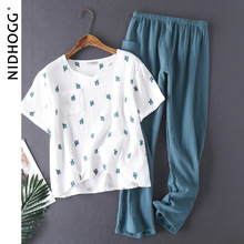 Pijamas femininos de algodão, pijamas lavados à água, estilo crepe, manga curta, calças compridas, pijamas para casa conjunto de 2 peças
