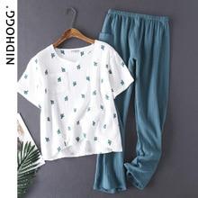 Pyjama en coton lavé à leau pour femme, pantalon Long à manches courtes, vêtement de nuit, ensemble 2 pièces pour la maison