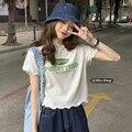 Белая футболка с коротким рукавом, женская летняя новая одежда, универсальный Свободный укороченный топ в Корейском стиле для студентов, Ins ...