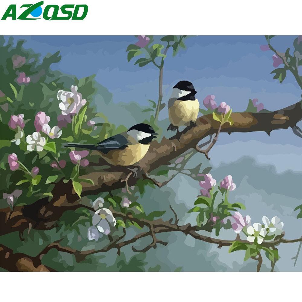 AZQSD Unframe Oil Painting By Numbers Set Birds DIY Home Decoration Paint By Numbers On Canvas Animal Acrylic Paint Unique Gift