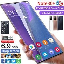Note30+ Global Version Galax Mobile Phone Snapdragon 865 Android 10.0 12GB 512GB 6000mAh Fingerprint Unlock 6.9
