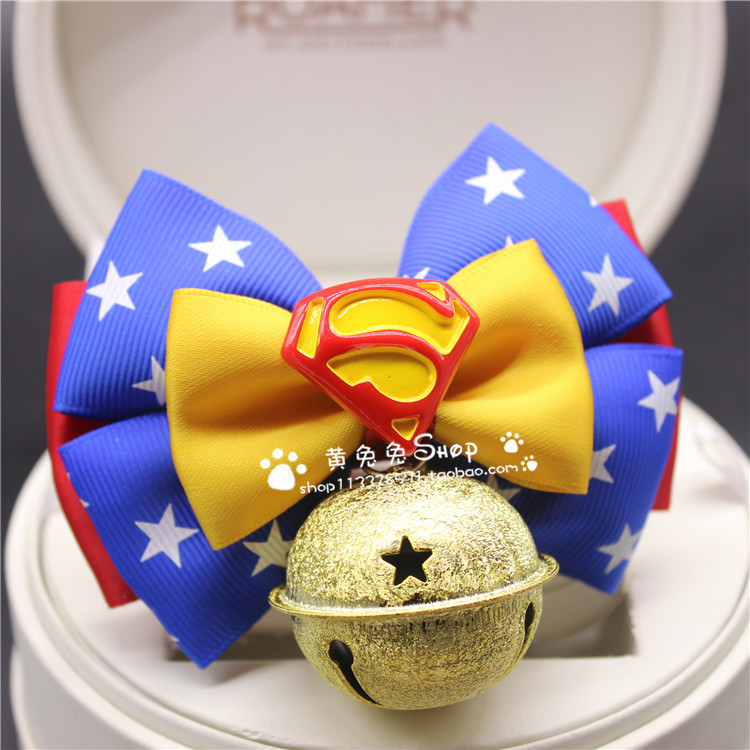 Pet Supplies Yellow Bunny Pet Dog Bowtie Dog Bell Cat Collar Bow Dog Chain Hangtag Accessories Superman
