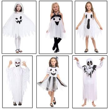 Umorden Purim Carnival Halloween Scary Costumes Kids Children White Ghost Costume Cosplay Robe for Boys Girls