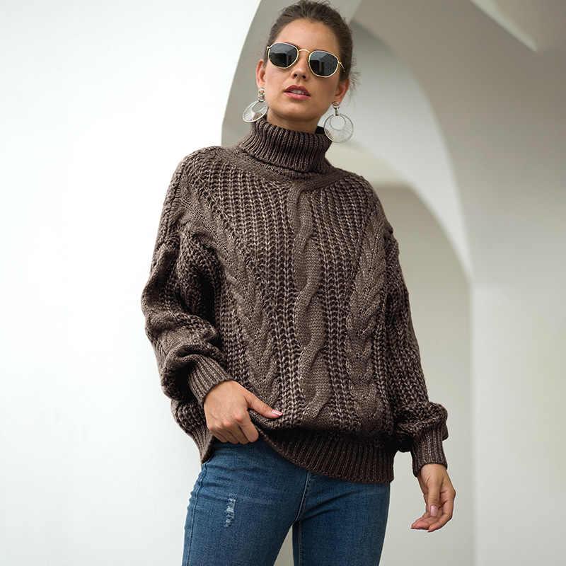 2020 가을, 겨울 새 니트 스웨터 여성용 터틀넥 스웨터 풀오버 대형 스웨터 두꺼운 여성 스웨터