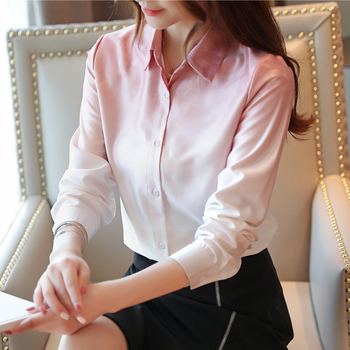Korean Fashion Silk Women Shirts Solid Autumn Pink Women Blouses Plus Size XXL Blusas Femininas Elegante Ladies Tops autumn korean fashion silk women blouses satin pink women shirts plus size xxxl blusas femininas elegante ladies tops