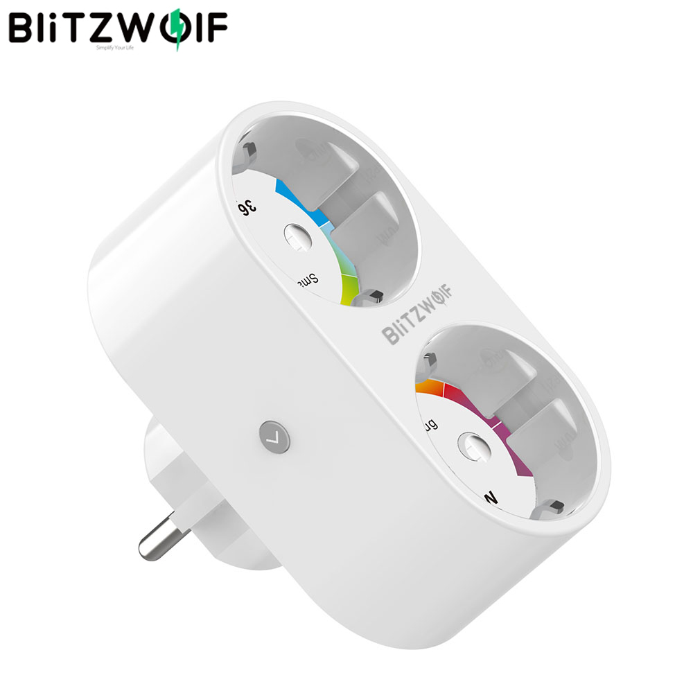 BlitzWolf BW-SHP7 16A 3680W Dual EU Plug Smart WIFI Socket Switch Timing Independent Remote Control Electricity Statistic Socket