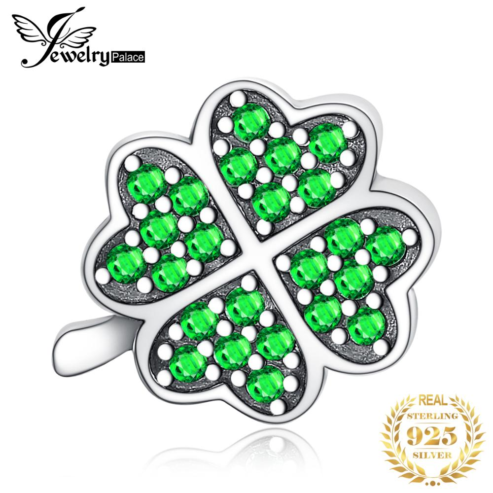 JewelryPalace Lucky Clover 925 Sterling Silver Beads Charms Silver 925 Original For Bracelet Silver 925 Original Jewelry Making