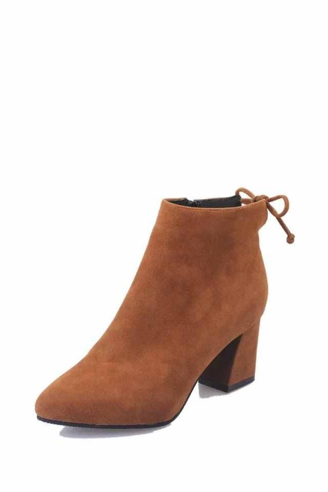 Yeni bayan kısa çizmeler kadın sivri burun kalın topuk yüksek topuk yarım çizmeler akın fermuar tek çizmeler sonbahar boyutu 34-42