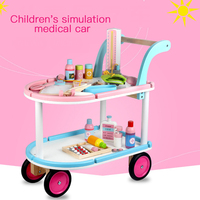 Pretend Play Boys and Girls Doctor Play Set Simulation Medical Cart Doctor Nurse Role Playing Wooden Toy for Kids Birthday Gifts