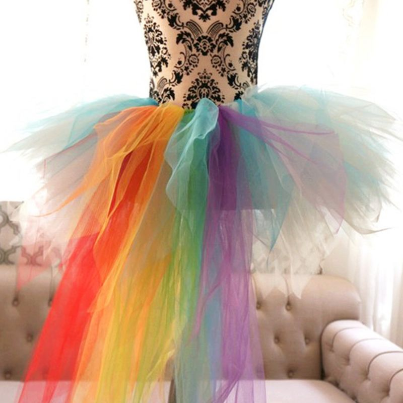 Rainbow Color Women Tutu Event Celebration Party Pettiskirt Adult Front Short Long Puff Skirt Costume
