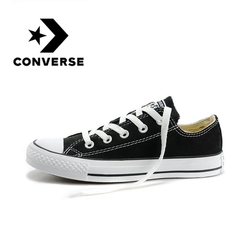 Original Authentic Converse ALL STAR Classic Unisex Skateboarding Shoes Low-Top Lace-up Canvas Footwear Black And White 101001