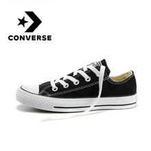 Asli Asli Converse ALL STAR Klasik Unisex Skateboarding Sepatu Low-Top Renda-Up Kanvas Alas Kaki Hitam dan Putih 101001(China)