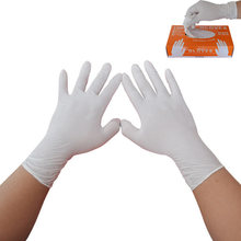 100pcs/pack Ambidextrous White Disposable Nitrile Gloves Oil Proof Protective Gloves For Industrial Food Process