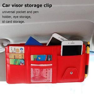 Image 2 - 多機能自動車車のサンバストラップポーチサングラス収納袋ケースカードホルダー自動車インテリアアクセサリー