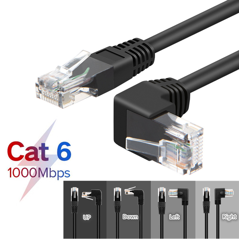 RJ45 Cable 26AWG CAT6 UTP Side Angled L Shape RJ45 Patch Cord Shape Ethernet Cable CAT5 Lan Cable Gigabit CAT6 Elbow 1m 1.8m 3m