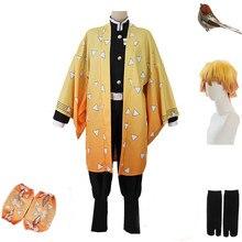 Adulto e crianças anime demônio slayer cosplay traje agatsuma zenitsu kimetsu não yaiba cosplay traje homem quimono uniforme amarelo