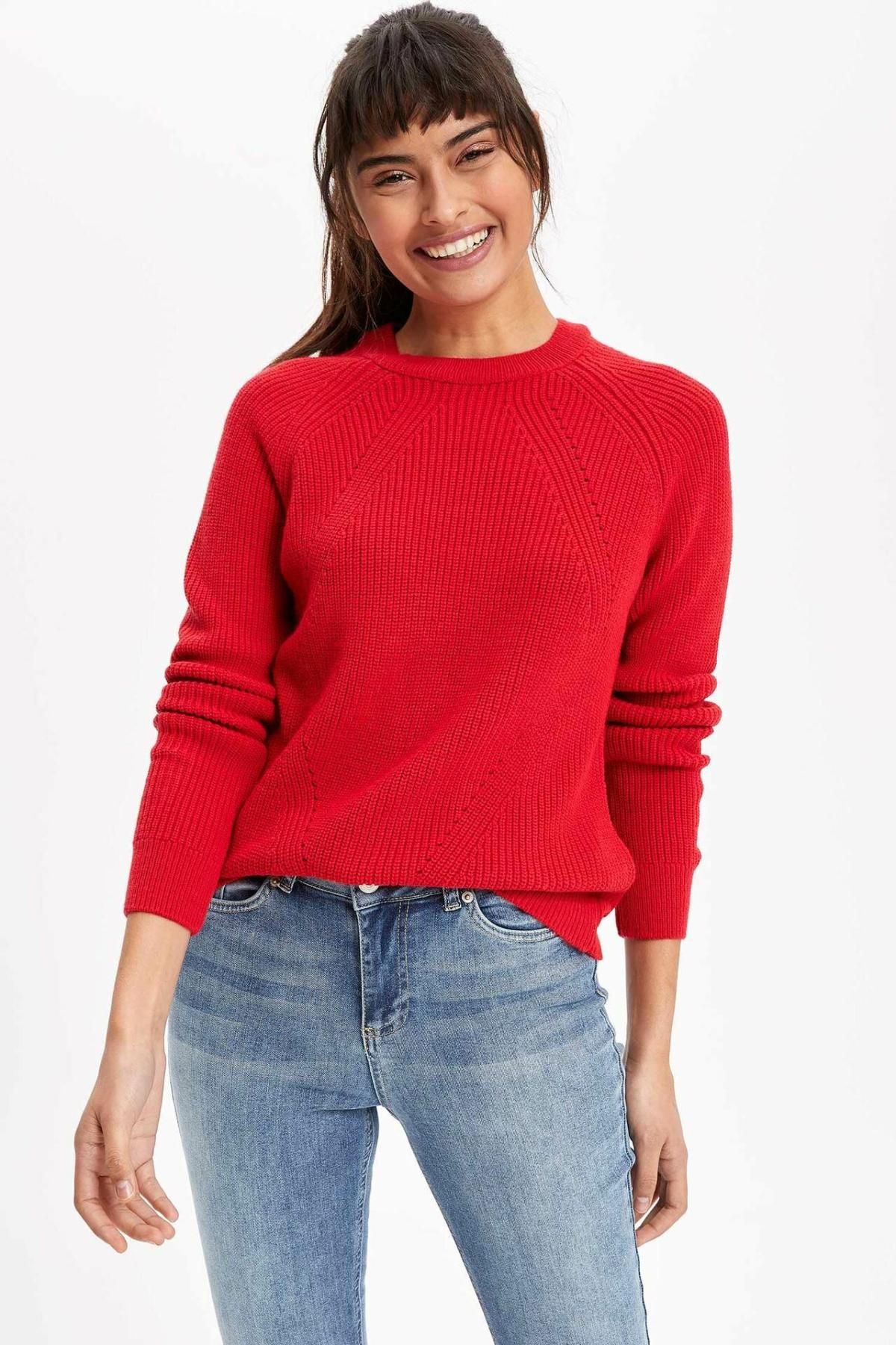 DeFacto Woman Crew Pullovers Loose Long Sleeve Pure Color Woman Casual Fashion Simple Autumn Tops New -H6905AZ19WN