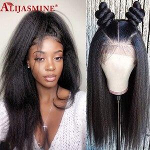 150% Итальянский Yaki прямые человеческие волосы парики бразильские Remy средняя часть 13х6 кружева фронта человеческих волос парики для женщин п...